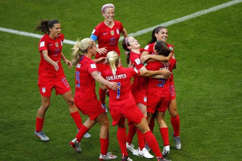 世界盃女子足球賽,美國對上泰國踢進破紀錄的13球。 (美聯社)
