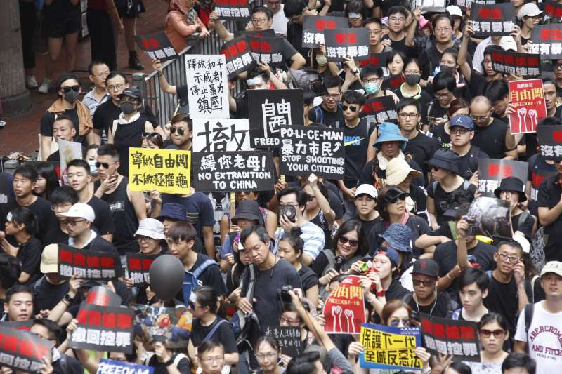 香港百萬民眾走上街頭怒吼,反對港府修訂《逃犯條例》。(資料照,新新聞郭晉瑋攝)