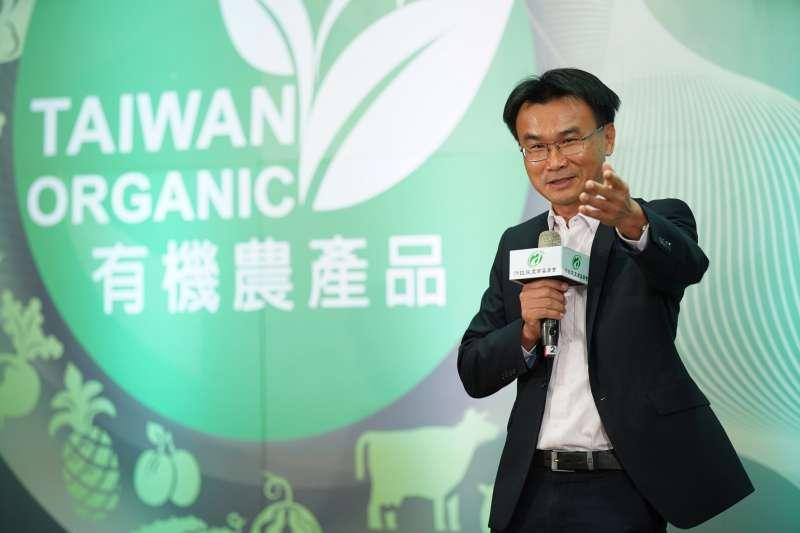 農委會主委陳吉仲出席有機農業專法施行前夕記者會。(圖/農委會提供)
