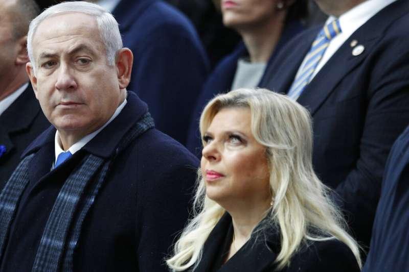 以色列總理納坦雅胡與其夫人薩拉(Sara Netanyahu)。(美聯社)