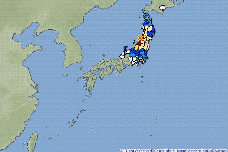 日本山形縣外海18日晚間10時22分觀測到規模6.8強震。(圖取自日本氣象廳網頁)