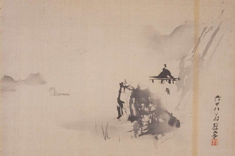 〈破墨山水〉/ 約一九二五年 / 彩墨、絹布 / 33×43.8 cm  。(臺北市立美術館藏)