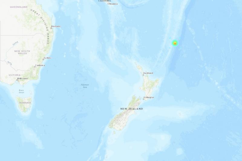 紐西蘭外海克馬德群島區域19日發生規模6.4強震(翻攝USGS)