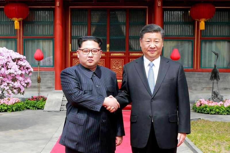 2018年3月27日,習近平與金正恩在北京會面。(AP)