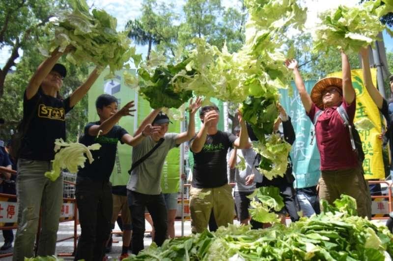 環團在立院前灑菜抗議農地工廠將毀農滅國。(地球公民基金會提供)