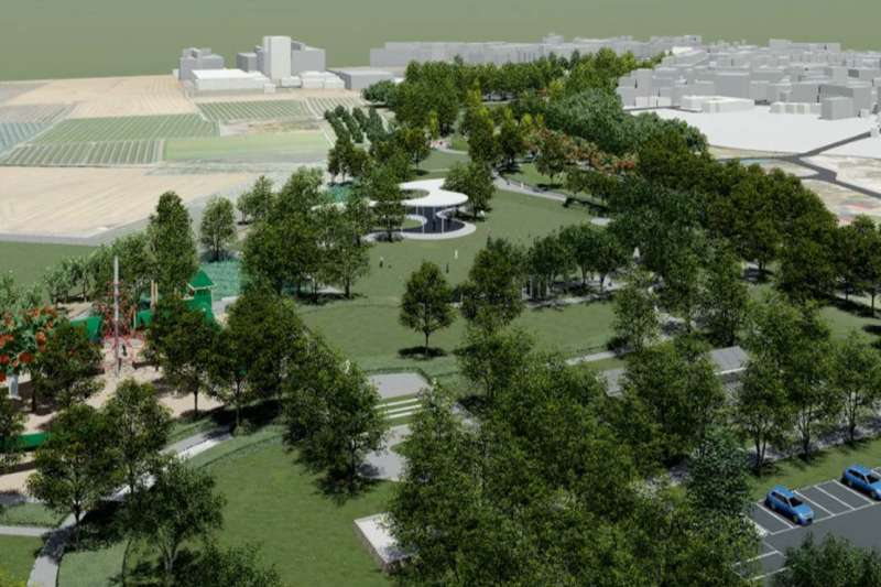 彰化溪湖城鎮之心公園新建工程第二期工程6月20日動工興建,公園占地20公頃,提供當地綠地休憩場所。(圖/彰化縣政府提供)