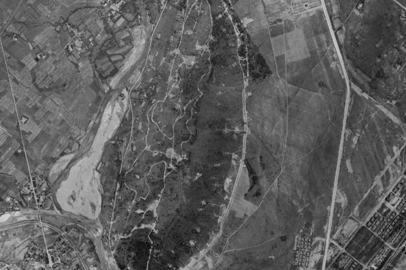 1945年花蓮米崙山。影像出自中央研究院台灣百年歷史地圖系統,筆者套疊加繪。(圖/想想論壇)