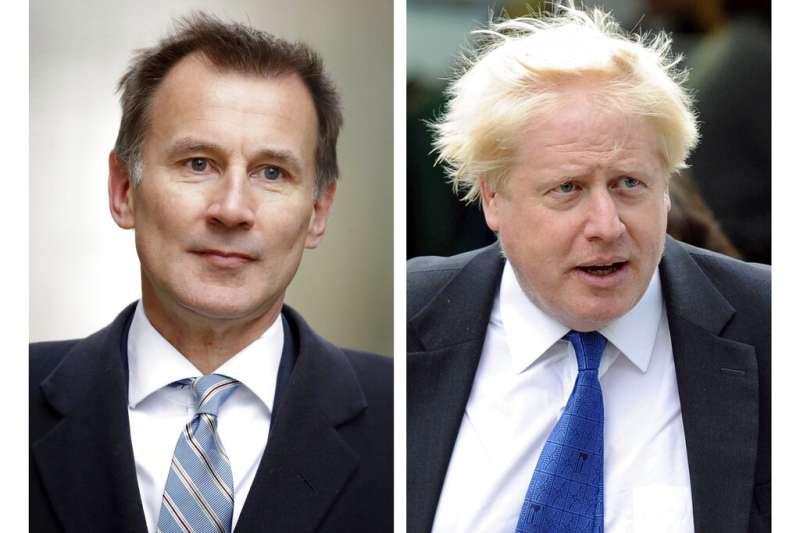 英國現任外相杭特、英國前外相強森,角逐保守黨黨魁大位。(AP)