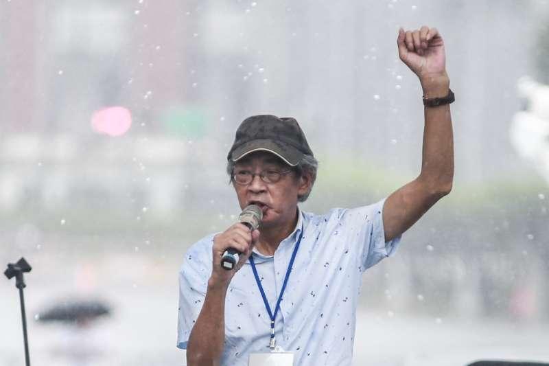 20190623-銅鑼灣書店創辦人林榮基23日出席「拒絕紅色媒體、守護台灣民主」。(簡必丞攝)