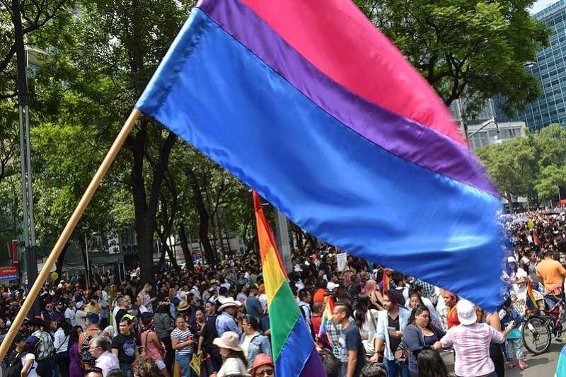 雙性戀自豪旗幟。上端是代表同性戀的紅色或者粉紅色條紋,底端是代表異性戀的藍色條紋,中間是代表雙性戀的紫色條紋。(Salvador alc@Wikimedia/CC-BY-SA-4.0)