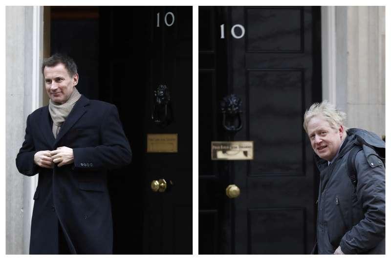 英國保守黨黨魁之爭:前外相強森(左)與現任外相杭特競爭(AP)