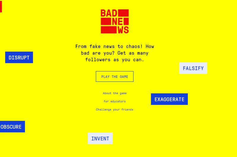 英國劍橋大學社會決策實驗室2018年開發Bad News遊戲,根據1.5萬用戶遊玩結果顯示,能有效提升民眾對「假新聞」的意識。(取自Bad News遊戲網頁getbadnews.com)