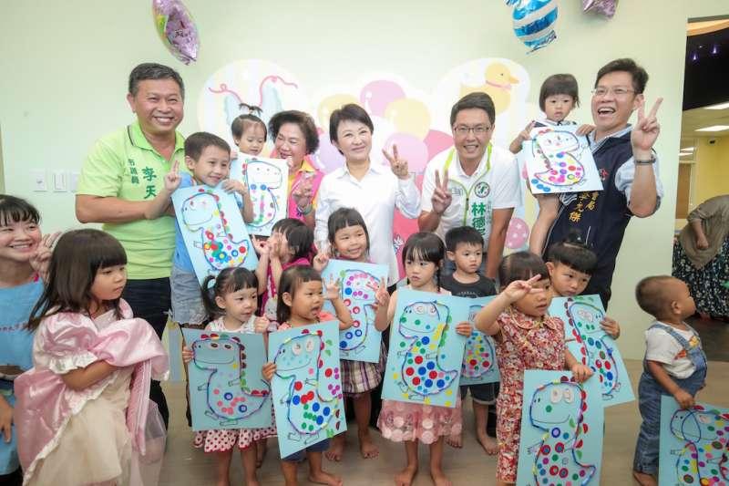台中市長盧秀燕表示,她將在4年內讓親子館總數達到至少13座,往友善親子的最佳城市努力。(圖/台中市政府提供)