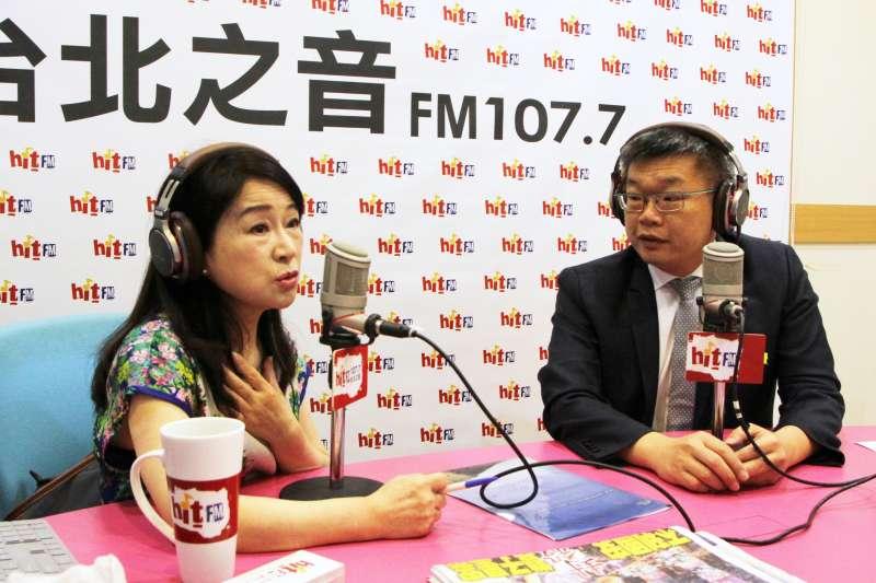 20190627-立法院副院長蔡其昌(右)27日上午接受《周玉蔻嗆新聞》專訪。(Hit Fm《周玉蔻嗆新聞》製作單位提供)