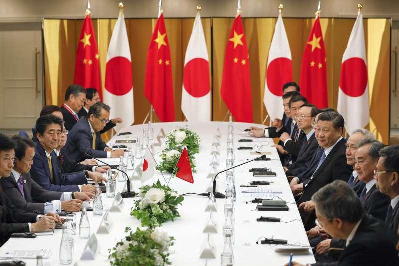 2019年6月27日「安習會」,日本首相安倍晉三與中國國家主席習近平舉行會談(AP)