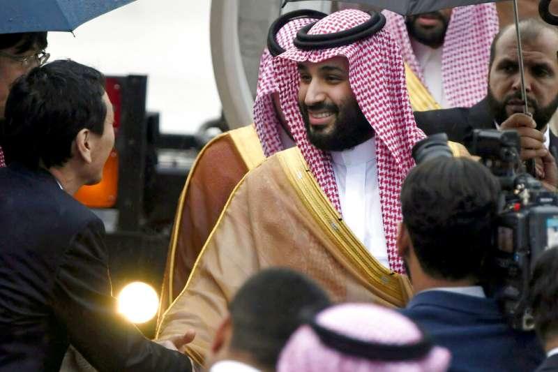 沙烏地阿拉伯王儲穆罕默德到訪大阪。(美聯社)