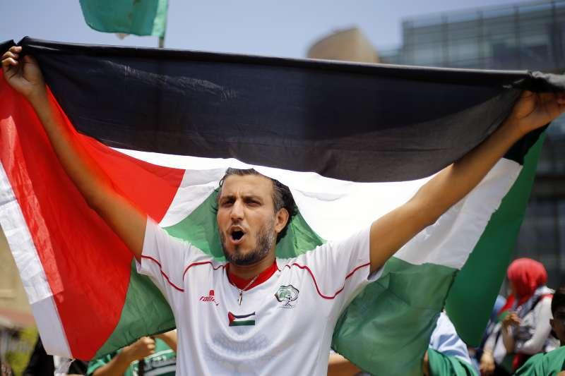 巴勒斯坦人民抗議美國提出的「和平締造繁榮」(Peace to Prosperity)方案(AP)