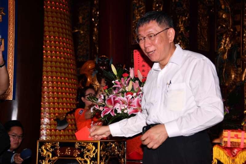 20190705-台北市長柯文哲5日參訪慧聚寺,晚間將結束上海行返回台灣。(台北市政府提供)
