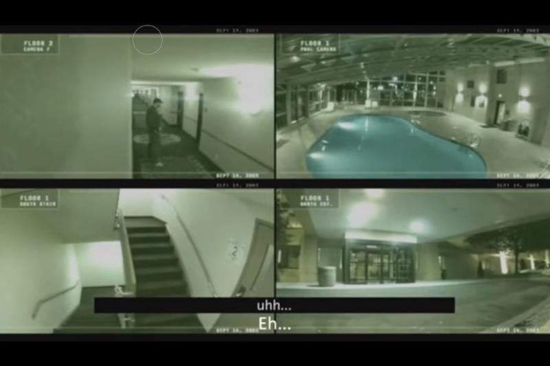 這部影片走廊的靈異畫面還有其他監視器裡的其他角落,根本並非同一家飯店。(圖片擷取自Youtube)