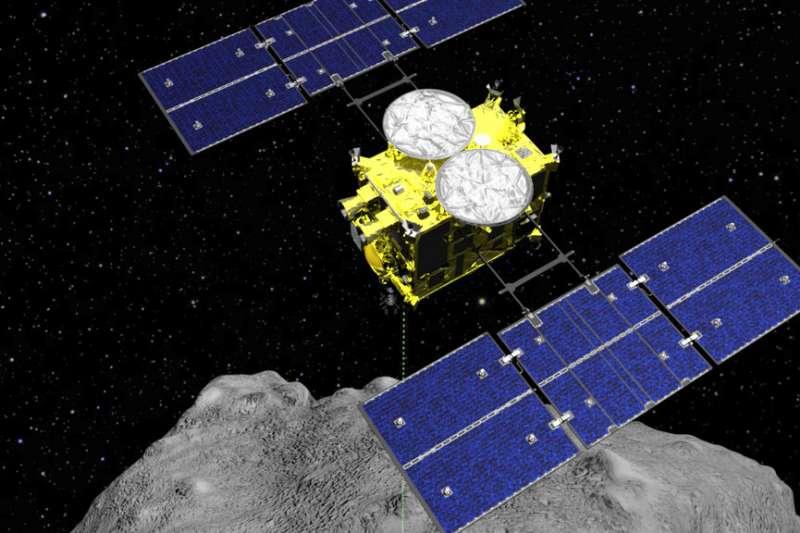 日本宇宙航空研究開發機構的宇宙探測器「隼鳥2號」。(美聯社)