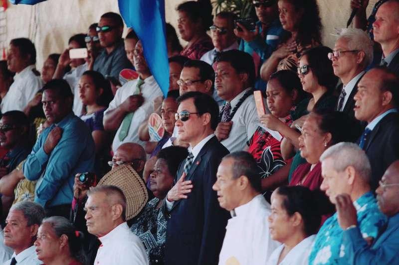 20190712-立法院長蘇嘉全12日以總統蔡英文特使身份,出席我友邦吉里巴斯共和國獨立40周年慶典。(蘇嘉全辦公室提供)
