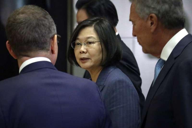 2019年7月12日,總統蔡英文出訪友邦,過境紐約,出席台美企業高峰會。(AP)