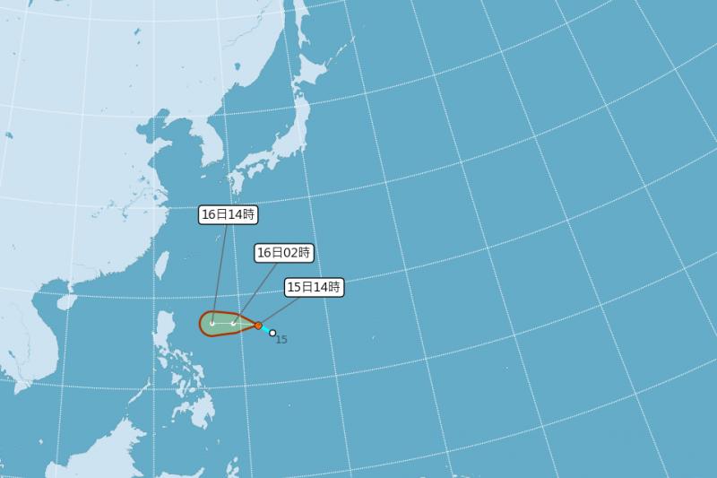 氣象局在今(15)日下午2時熱帶性低氣壓路徑預測圖,若轉向北北西,對台灣影響較大。(截自中央氣象局官網)