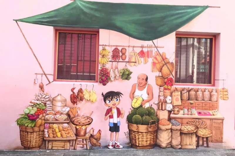 新加坡旅遊局邀請壁畫家葉耀宗於牛車水史密斯街和南橋路交叉口創作柯南壁畫(圖/新加坡旅遊局)