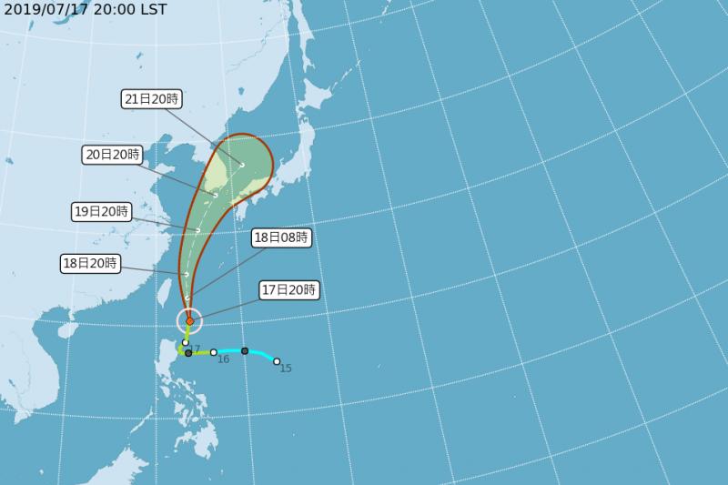 颱風丹娜絲未如先前預測登陸台灣,氣象局今晚8時30分解除陸上颱風警報。(取自氣象局)