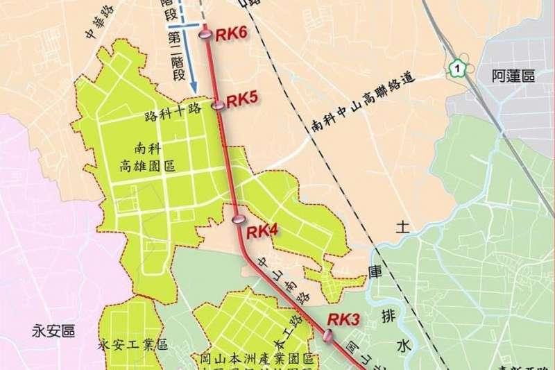 岡山路竹延伸線(第二階段)計畫路線圖。(圖/高市府捷運工程局提供)