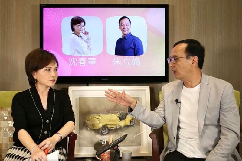 朱立倫(右)21日晚間接受沈春華專訪。(翻攝自朱立倫臉書直播)
