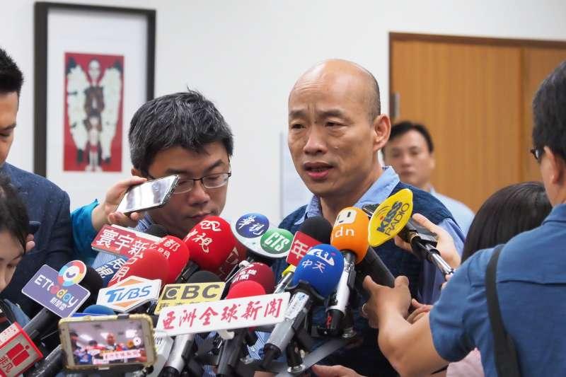 高雄市長韓國瑜(如圖)認為,從國安局私菸案可看出,總統蔡英文的領導能力大有問題。(資料照,林瑞慶攝)