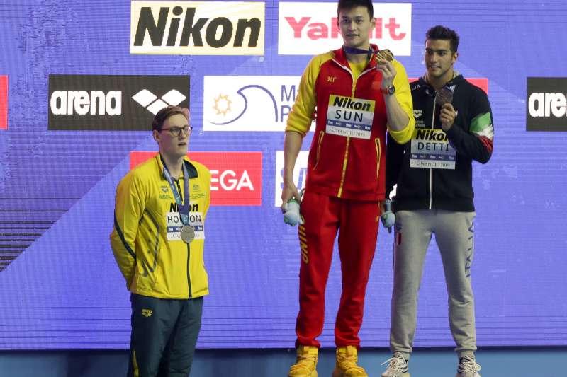 澳洲選手何頓拒絕與有禁藥黑歷史的中國國家游泳隊隊長孫楊同台(AP)