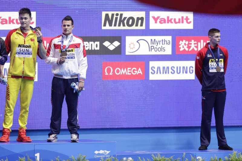 中國奧運3金泳將孫楊因違反藥檢規定,禁賽8年。(AP)