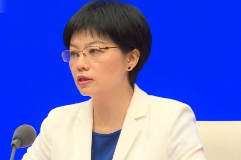 2019年7月29日,中國國務院港澳辦發言人徐露穎出席「香港當前局勢的立場和看法」記者會。(擷取自YouTube)