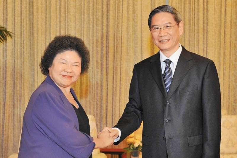 陳菊曾在2013年於天津會見張志軍。(新華社)