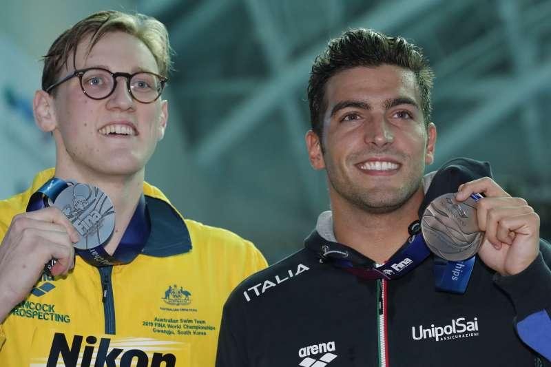 何頓(左)不齒孫楊服禁藥,隨即傳出澳洲選手藥檢沒過。(AP)