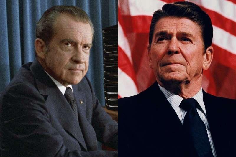 新發現的前美國總統尼克森(左)談話錄音顯示,1971年台灣被迫退出聯合國後,當時的加州州長雷根(右)曾致電尼克森,痛罵支持中國取代台灣的非洲國家。(維基共享資源,公有領域)