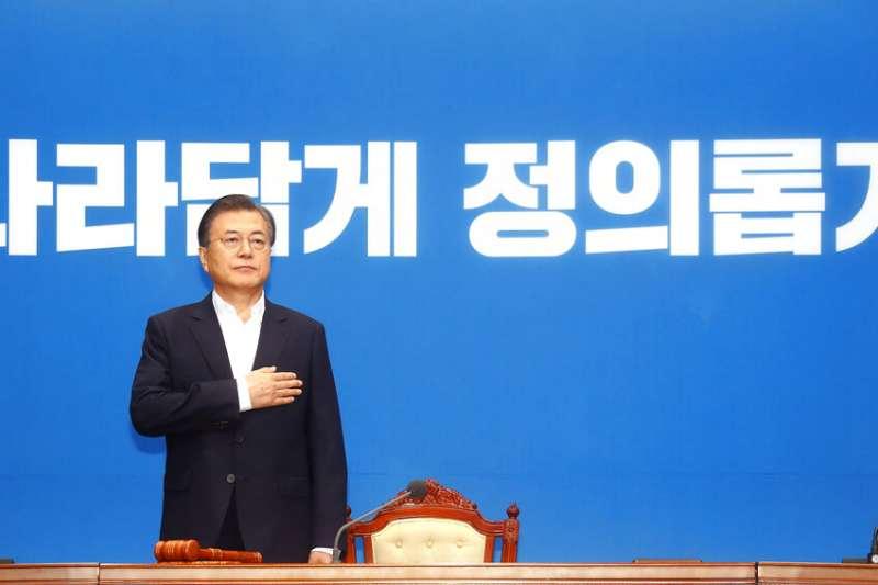 2019年8月2日下午2時,南韓總統文在寅召開記者會,公開譴責日本將南韓踢出貿易優惠白名單。(AP)