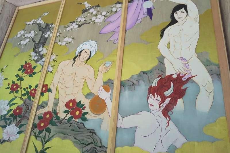掛在國上寺主殿外牆的帥哥官能繪卷。從左到右分別是上杉謙信、酒吞童子、源義經。