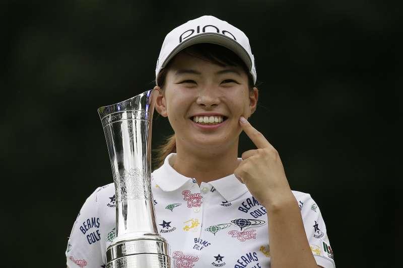 涉野日向子在LPGA英國公開賽奪冠,成為繼1977年樋口久子後第一位在LPGA大賽奪冠的日本女將。 (美聯社)