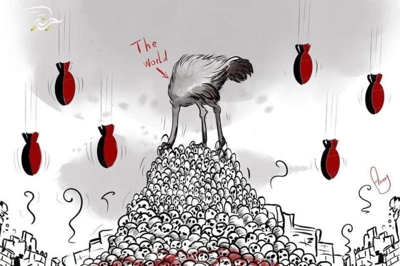 敘利亞西北部伊德利布省飽受戰火蹂躪,漫畫家阿里用平板電腦創作漫畫,其中一幅漫畫,阿里把世界描繪為一隻頭埋在土裡的鴕鳥,土堆由血淋淋的頭骨堆積而成,周圍還有紅色的飛彈如雨般傾瀉而下。(圖取自facebook.com/amanycartoon)