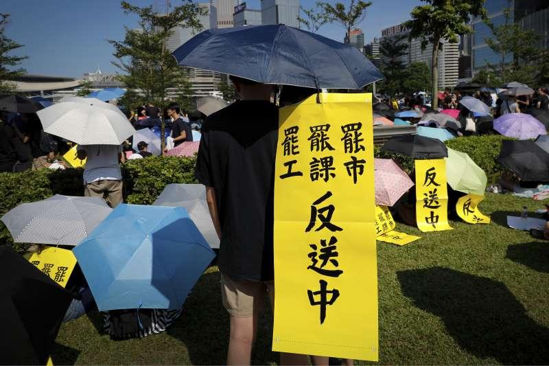 2019年8月5日,香港各地舉行反送中「三罷」集會。(AP)