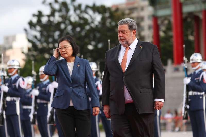 20190807-聖文森及格瑞那丁總理龔薩福閣下訪台,總統蔡英文7日以軍禮接待。(顏麟宇攝)