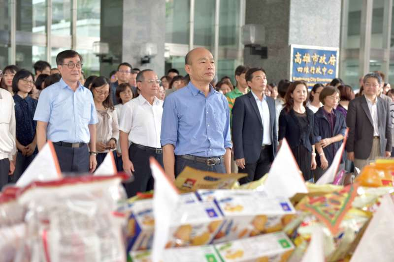 高雄市長韓國瑜7日主持中元普渡祭典,並朗誦心經為民祈福。(高雄市政府提供)