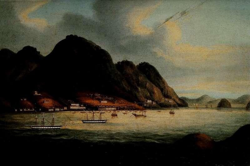 1841年清廷戰敗英國,香港由英國統治。圖為早期描繪成為殖民地後的香港島景象。(資料照,取自維基百科/公有領域)