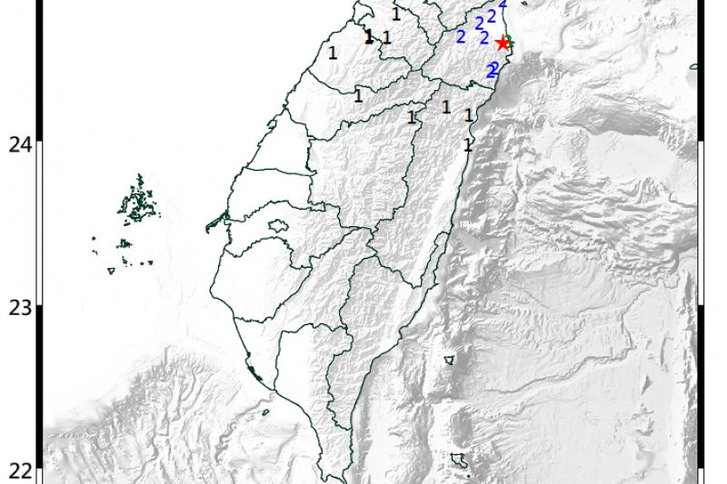 台灣東部海域地震規模6 宜蘭蘇澳又有4.6地震。(中央氣象局)