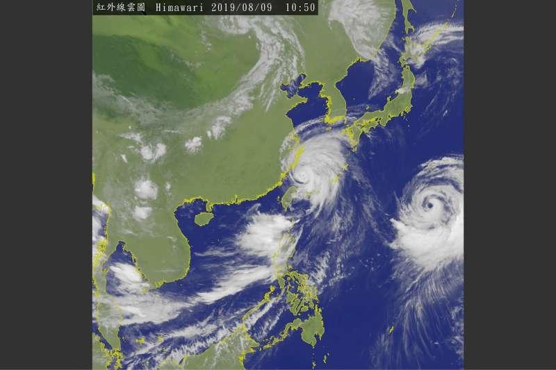 利奇馬颱風8月9日上午10時50分的衛星雲圖。(中央氣象局)