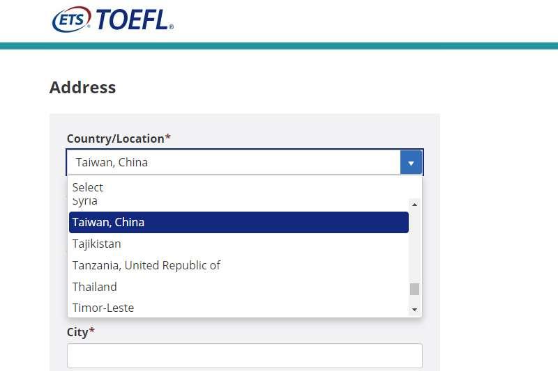 20190811-托福官網將台灣列為中國台灣。(取自托福官網)