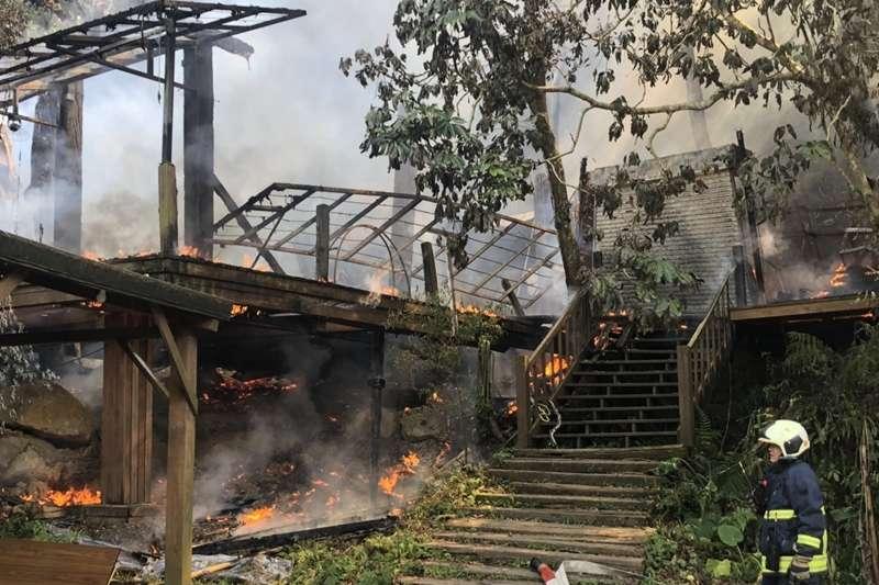 優人神鼓位於木柵山區的小木屋排練場,13日上午發生火警。(優人神鼓提供)